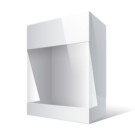 plastic window: Realistic Package Cardboard Box with a transparent plastic window. Vector illustration