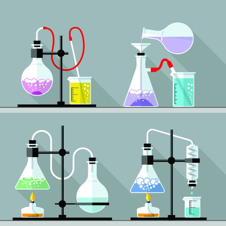 química: Conjunto de vectores - Vector conjunto - Laboratorio de Investigación de Química. Diseño plano. Diseño plano El tubo de ensayo, cubilete, frasco