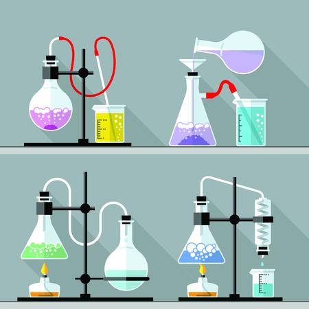 symbole chimique: Vector set - Vector set - Laboratoire de recherche chimique. Design plat. Design plat Le tube à essai, bêcher, flacon