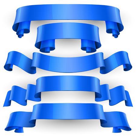 felicitation: Realistic Blue Glossy vector ribbons set vector