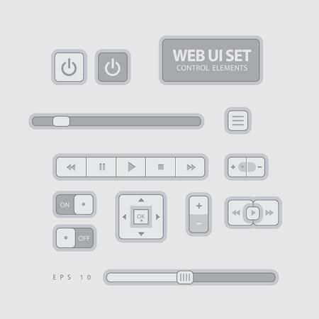 slider: Web UI Elements Flat Design Gray. Elements Buttons Switchers Slider