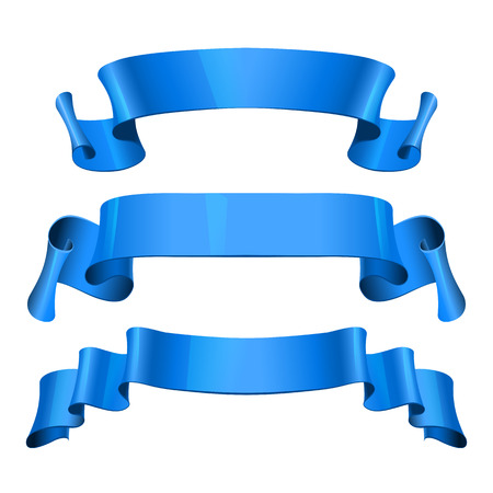 felicitation: Realistic Blue Glossy vector ribbons set vector