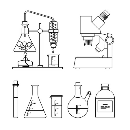 photosynthesis: chemical glassware icons set. The test tube, beaker, flask, stand, burner and microscope
