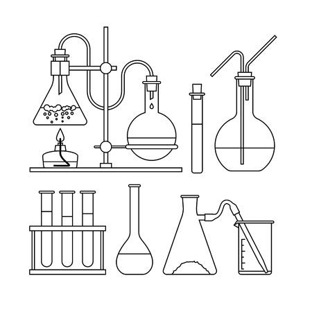 chemical glassware icon. The test tube beaker flask Illustration