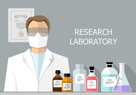 scientific: Vector set - Vector set - Chemical Research Laboratory. Flat design. Flat design The test tube, beaker, flask