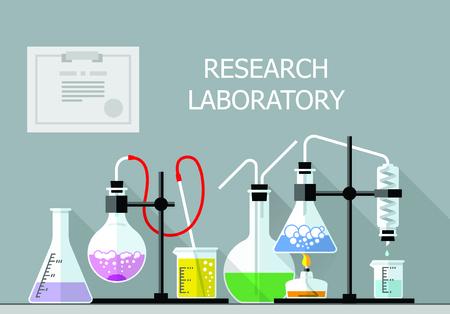 Conjunto de vectores - Vector conjunto - Laboratorio de Investigación de Química. Diseño plano. Diseño plano El tubo de ensayo, cubilete, frasco Ilustración de vector