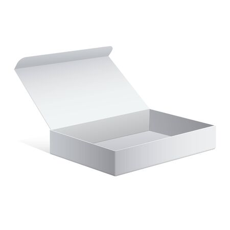 package: Realistic White Package Cardboard Box. For Software, electronic device and other products. Vector illustration. Illustration