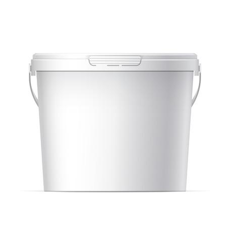 jar: Blanca cubo de plástico con tapa blanca. Empaquetado del producto para la comida, producto alimenticio o pinturas, adhesivos, selladores, imprimaciones, masillas. Vector