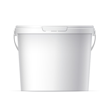 handle: White plastic bucket with White lid. Product Packaging For food, foodstuff or paints, adhesives, sealants, primers, putty. Vector