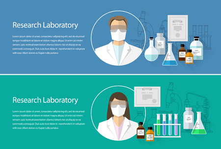 technician: Chemical Research Laboratory. Flat design horizontal banner set with the image of a scientist wearing a mask and, flask, microscope. Vector Illustration