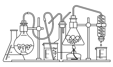 chemical glassware icon. The test tube beaker flask Ilustracja