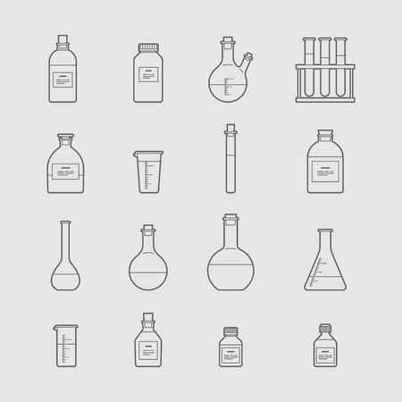 chemical glassware icons set. The test tube beaker flask