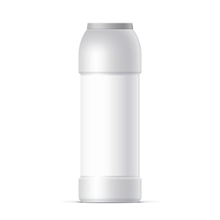 antiseptic: Cool Realistic White plastic bottle. For cleaning powder dishwashing, cleaning agent. Vector illustration.