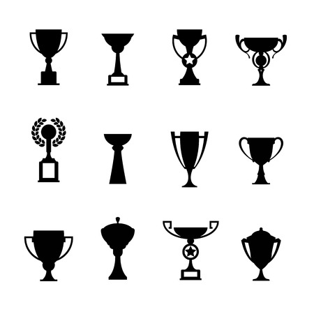 cups silhouette: Vector winner cup. Trophy flat icon set