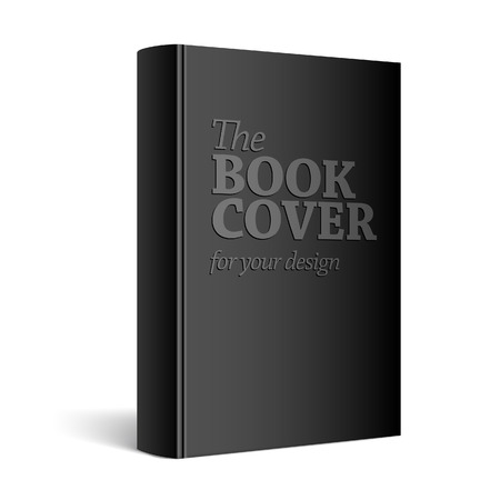 Black Realistic Blank book cover vector illustration