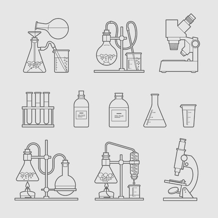 the test: chemical glassware icons set. The test tube beaker flask