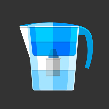 water filter: Blue pitcher water filter. Flat design icon