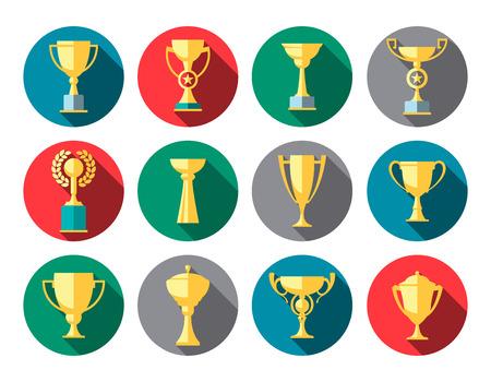 trofeo: Vector ganador de la copa. Trofeo de conjunto de iconos plana