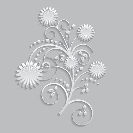 Fleurs et éléments floraux découpées dans du papier. 3D style Vecteurs