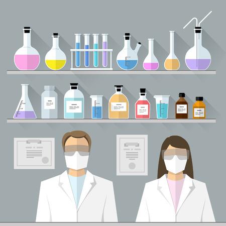 symbol of pharmacy: Vector set - chemical designer. Flat design The test tube, beaker, flask