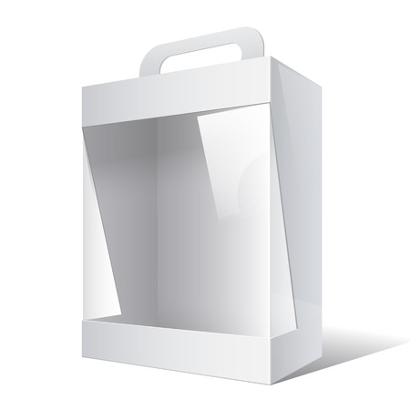 cardboard packaging: Light Realistic Package Cardboard Box with a handle and a transparent plastic window. Vector illustration