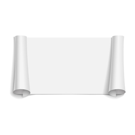 blank scrolls of white paper stickers on white background. Vector illustration