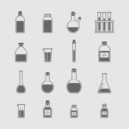 beaker: iconos cristalería química establecen. El matraz vaso de precipitados tubo de ensayo Vectores