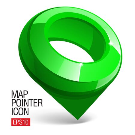 gloss: Shiny gloss green Map pointer icon Illustration