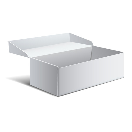 packaging box: Realistic White Package Box. For For shoes, Software, electronic device and other products. Vector illustration. Illustration