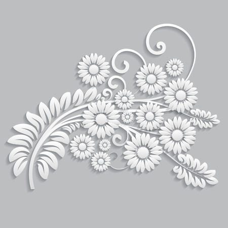 Flowers and floral elements cut from paper Иллюстрация