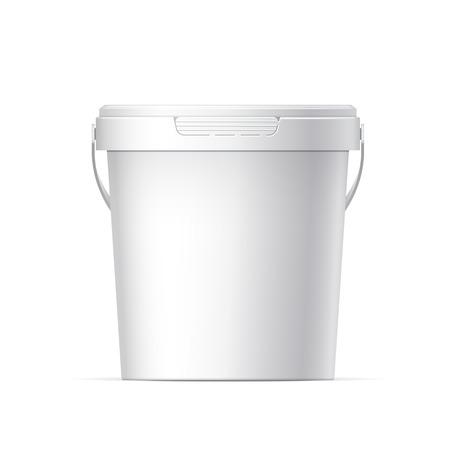 kunststoff: Kleine weiße Kunststoff-Eimer mit weißer Deckel Illustration