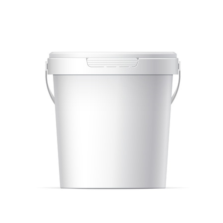 pot: Small White plastic bucket with White lid