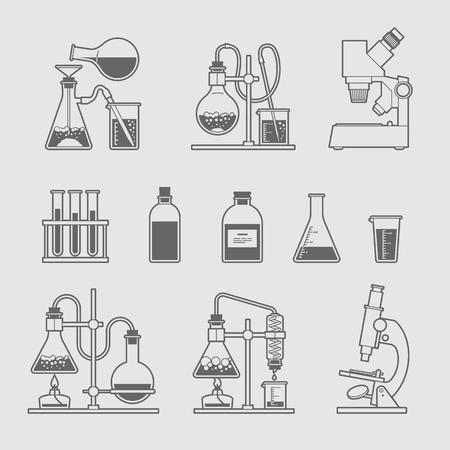 glassware: chemical glassware icons set. The test tube beaker flask