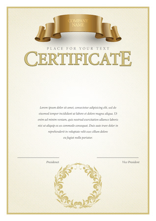 Certificate. Award background. Gift voucher. Template diplomas currency Vector illustration