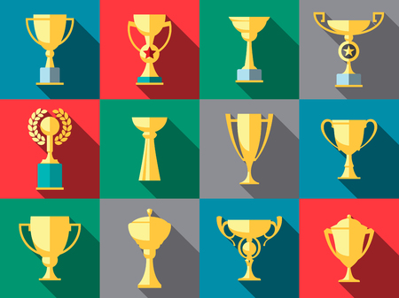 sports winner: Vector winner cup. Trophy flat icon set