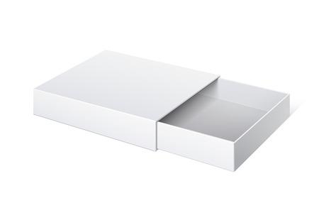 cerillos: Box Sliding Paquete Cartón realista inaugurado. Para objetos pequeños, fósforos, y otras cosas. Ilustración vectorial