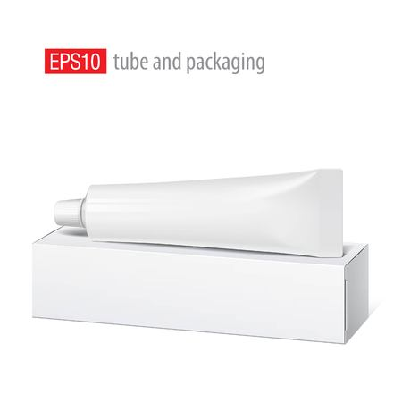 tooth paste: Cool Realistic white tube and packaging. For cosmetics, ointments, cream, tooth paste, glue Vector. Separate elements Illustration