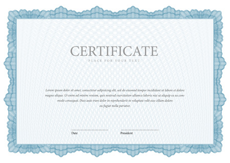 blue border: Vintage Certificate. Award background. Gift voucher. Template diplomas currency Vector illustration