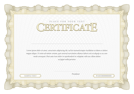 award background: Vintage Certificate. Award background. Gift voucher. Template diplomas currency Vector illustration