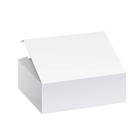 product innovation: Realistic White Package Box. For For, Software, electronic device and other products. Vector illustration.