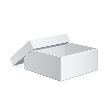 electronic device: Realistic White Package Cardboard Box. For Software, electronic device and other products. Vector illustration. Illustration