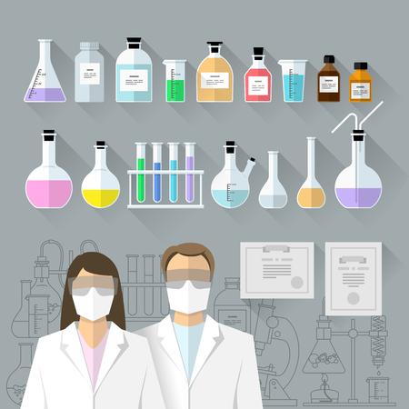 Vector set - chemical designer. Flat design The test tube, beaker, flask