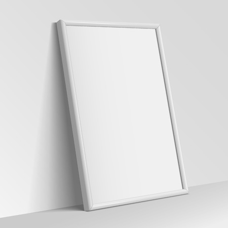 advertisement: Realistic White vertical frame for paintings or photographs.  Vector illustration. Illustration