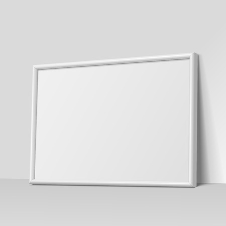 frame wall: Realistic White horizontal frame for paintings or photographs.  Vector illustration.