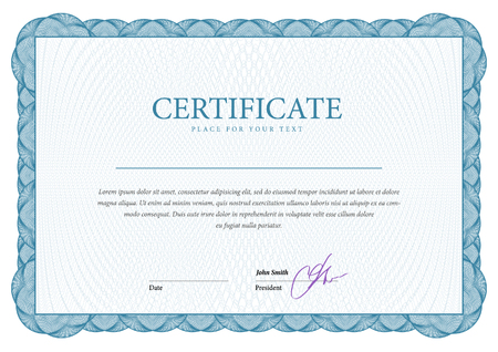 guilloche: Certificate. Award background. Gift voucher. Template diplomas currency Vector illustration