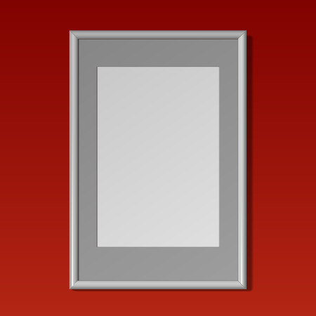 wall paintings: Realistic White vertical frame with passe-partout for paintings or photographs hanging on the wall. On a red background. Vector illustration.