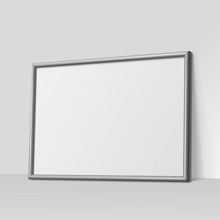 3d paper art: Realistic dark gray horizontal frame for paintings or photographs leaning against the wall.  Vector illustration.