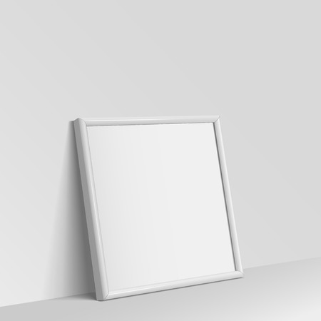 clean floor: Realistic White square shape frame for paintings or photographs leaning against the wall.  Vector illustration.
