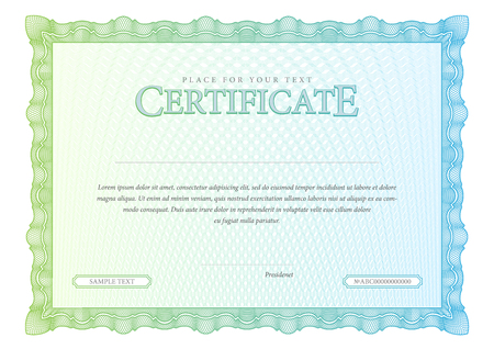 guilloche pattern: Vintage Certificate. Award background. Gift voucher. Template diplomas currency Vector illustration