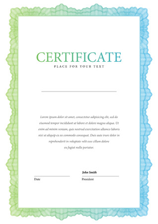 sertificate: Vintage Certificate. Award background. Gift voucher. Template diplomas currency Vector illustration